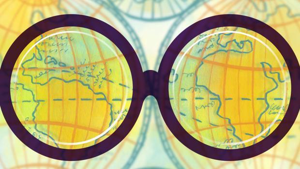 Dibujo de un mapamundi y sus meridianos