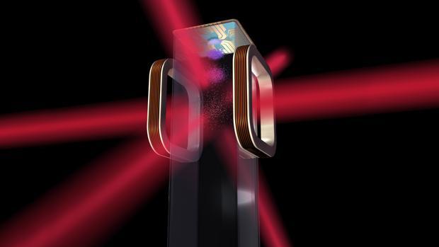 Ilustración de un chip atómico para uso en el Cold Atom Laboratory de la NASA a bordo de la Estación Espacial Internacional