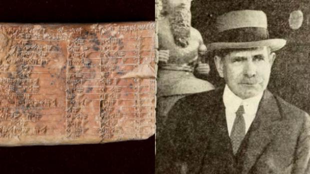 La tablilla, llamada Plimpton 322, a la izquierda, y a la derecha Edgar Banks, su descubridor y fuente de inspiración para el personaje de Indiana Jones