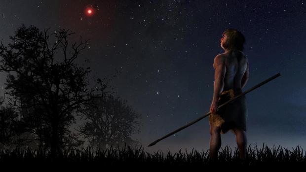 Uno de nuestros antepasados observa la estrella de Scholz, que hace 70.000 años cruzó nuestro sistema solar
