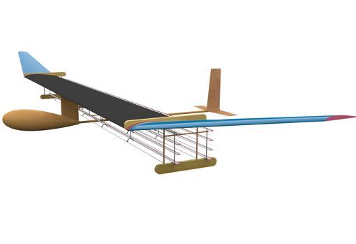 Immagine schematica del piano, dove è possibile vedere i cavi sotto le ali