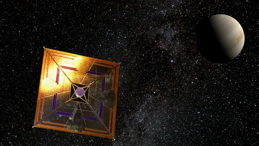 Esquema de la sonda IKAROS, que en 2010 viajó hasta Venus impulsada por una vela solar