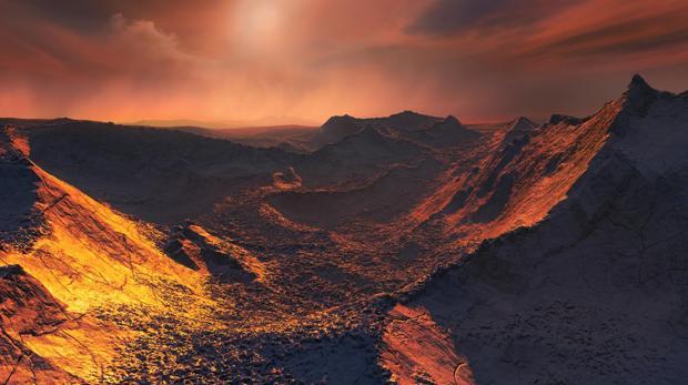 Representación de la superficie de Barnard b. Se estima que su temperatura rondaría ahí los -170ºC