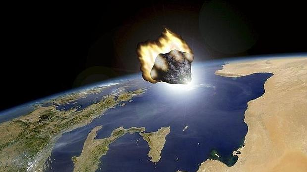 Recreación de un asteroide acercándose a la Tierra