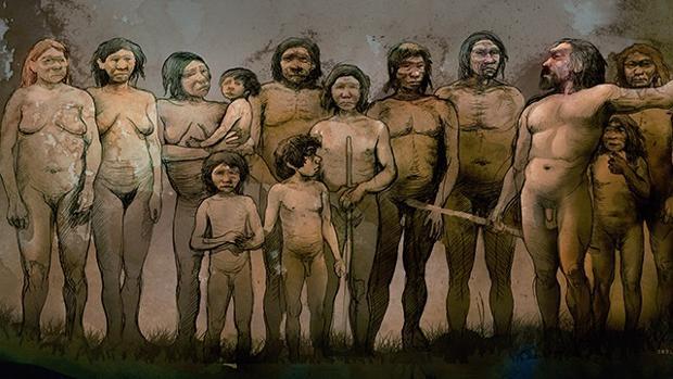 Recreación de los trece neandertales de El Sidrón