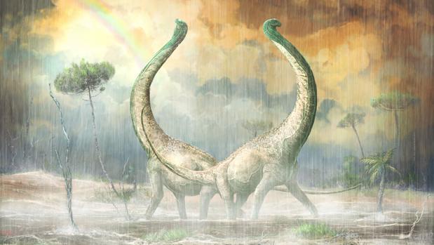 Recreación del titanosauro descubierto en Tanzania