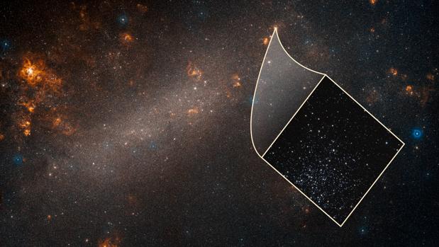 Esta es una visión de un telescopio terrestre de la Gran Nube de Magallanes, una galaxia satélite de nuestra Vía Láctea. La imagen del recuadro, tomada por el Hubble, revela uno de los muchos cúmulos de estrellas dispersos por toda la galaxia enana