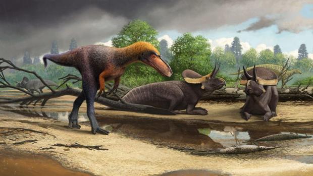 Reconstrucción de Suskityrannus hazelae cerca de los pequeños Zuniceratops y un hadrosauromorfo Jeyawati al fondo