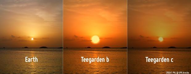 Recreación de un atardecer desde la Tierra, Teegarden b y Teegarden c