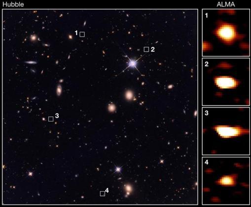 Algunas de las galaxias antiguas observadas por ALMA (derecha) pero no vistas por Hubble (izquierda)