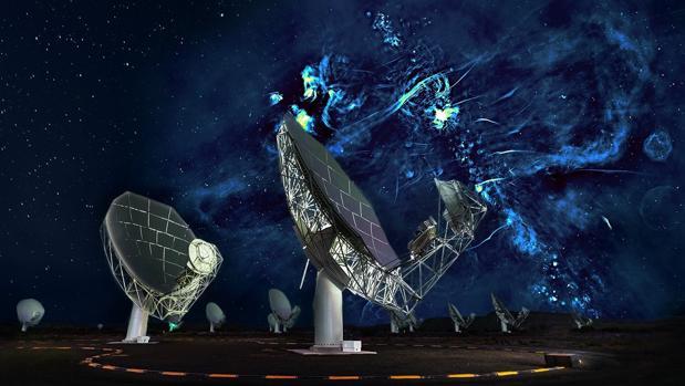 La ilustración muestra una radioimagen del centro de la galaxia sobre una parte del radiotelescopio MeerKAT, que aparece en primer plano