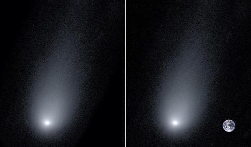 A la izquierda, la imagen más cercana tomada de Borisov. A la derecha, la misma fotografía con una Tierra a escala
