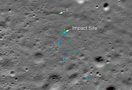 """This image shows the impact point of Vikram Lander and the associated debris field. Green dots indicate spacecraft remains (confirmed or probable). The blue dots locate the altered ground, probably where small pieces of the spacecraft stirred the regolith. """"S"""" indicates the remains identified by Shanmuga Subramanian"""