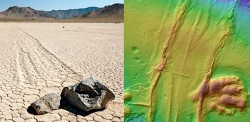 Escaneado del rastro y una huella fosilizadas (derecha), junto a una piedra deslizante actual (izquierda)
