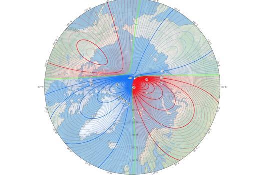 Situación del polo norte magnético en 2020