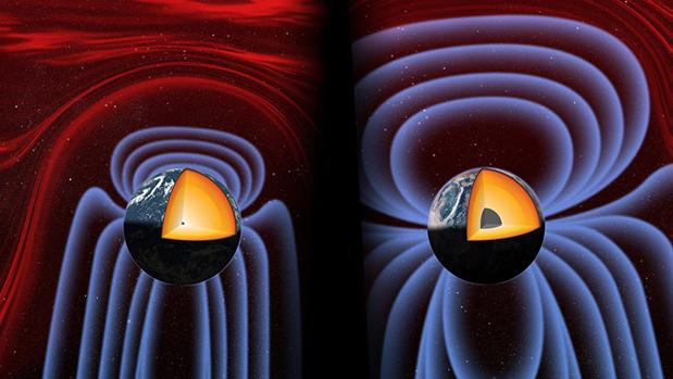 Cuando la Tierra era joven, no se había formado un núcleo interno (izquierda). Este se formó hace 565 millones de años (derecha), regenerando un campo magnético que estaba muy debilitado por entonces