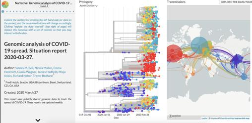 Captura de la web Nexstrain. Las mutaciones permiten reconstruir la historia de la transmisión del virus