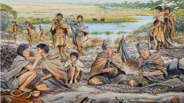 Representación de una comunidad en la Llanura Paleo-Agujas durante el Pleistoceno