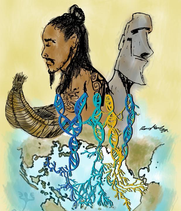 Ilustración de un individuo polinesio cuyas raíces genéticas se remontan a diversas regiones del Pacífico y las Américas