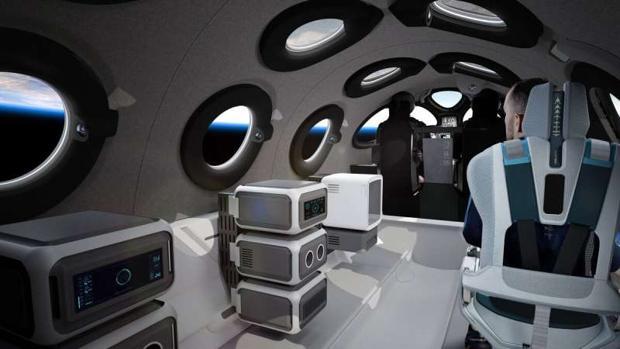 Interior de la nave de Virgin Galactic