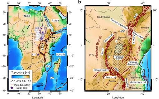 El mapa muestra dónde las placas tectónicas se unen en el este de Africa