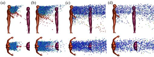 Dispersión de gotitas (vistas laterales, de arriba hacia abajo) de una sola tos para dos personas separadas 1 m en (a) t = 0.52s, (b) t = 1s, (c) t = 3s y (d) t = 5s