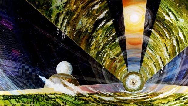 Esta ilustración de la NASA muestra el interior de un cilindro de O´Neill, con su propia gravedad y atmósfera artificial.