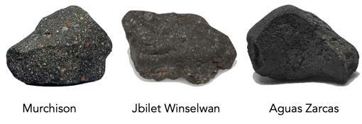 En los experimentos de desgasificación se analizaron muestras de tres meteoritos de condrita carbonosa: Murchison, Jbilet Winselwan y Aguas Zarcas.