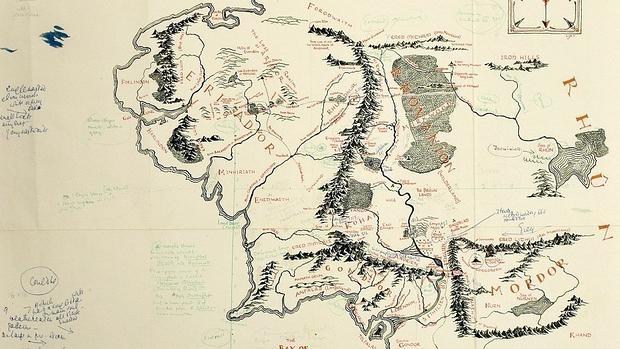 Mapa de la Tierra Media con anotaciones de Tolkien