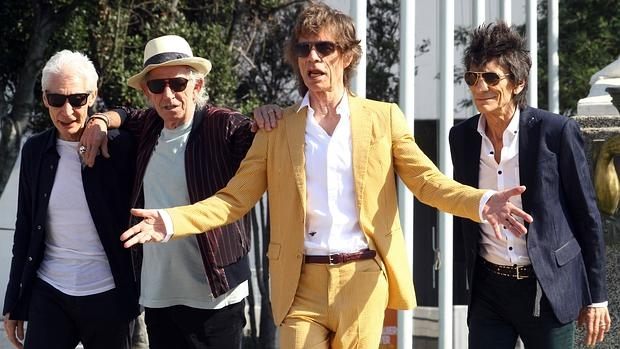 Charlie Watts, Keith Richards, Mick Jagger y Ronnie Wood, fotografiados en Santiago de Chile