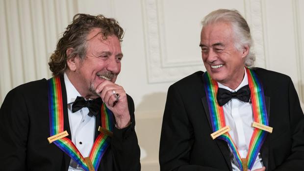 Robert Plant y Jimmy Page (Led Zeppelin), en 2012 en la Casa Blanca