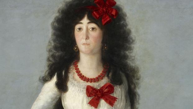 «Retrato de la duquesa de Alba de blanco» (1795), de Goya. Detalle