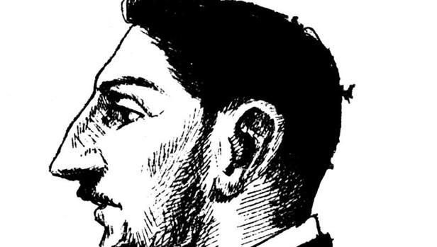 Detalle del autorretrato que dibujó Unamuno en uno de los cuadernos de su viaje de 1889 por Europa