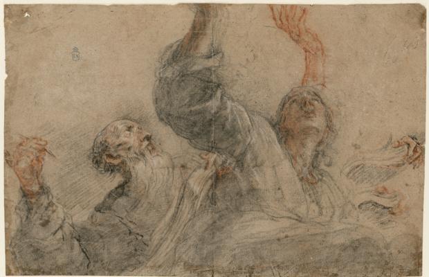 Dibujo de dos apóstoles o evangelistas (1657), por Juan Carreño de Miranda