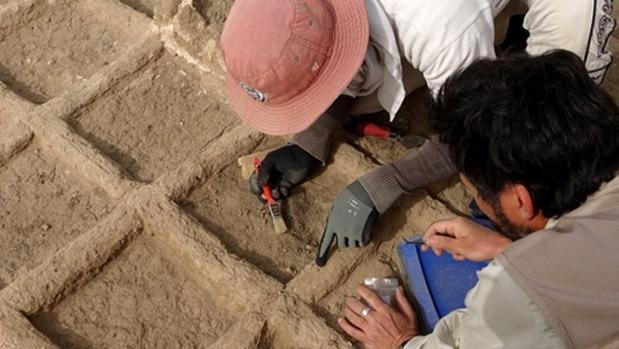 Arqueólogos durante unos trabajos en un jardín funerario de hace casi 4.000 años, en Luxor, Egipcio