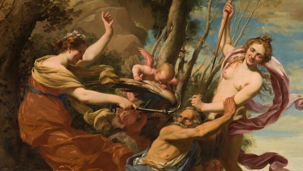 Detalle de «El Tiempo vencido por la Esperanza y la Belleza», de Simon Bouet. La figura desnuda a la derecha del cuadro es la misma protagonista de «Retrato de niña con paloma»