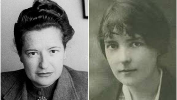 Carmen Conde, a la izquierda, y Katherine Mansfield