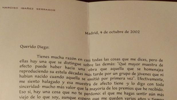 Imagen de la carta enviada por Chicho Ibáñez Serrador a un seguidor