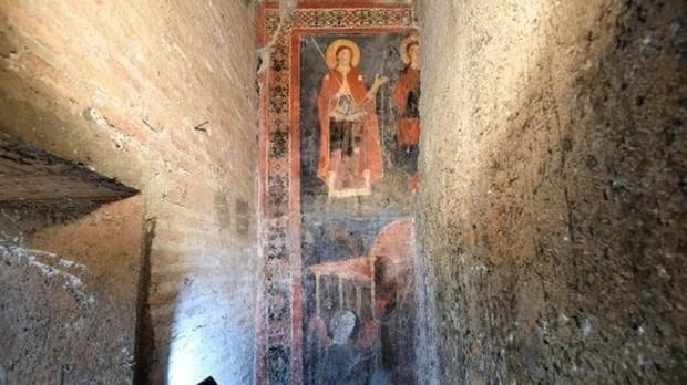 El fresco medieval hallado en Roma en perfecto estado de conservación