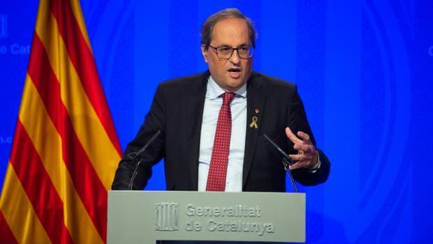 El presidente de la Generalitat, Quim Torra, durante una rueda de prensa