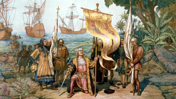 Colón en su llegada a América en un cuadro de época
