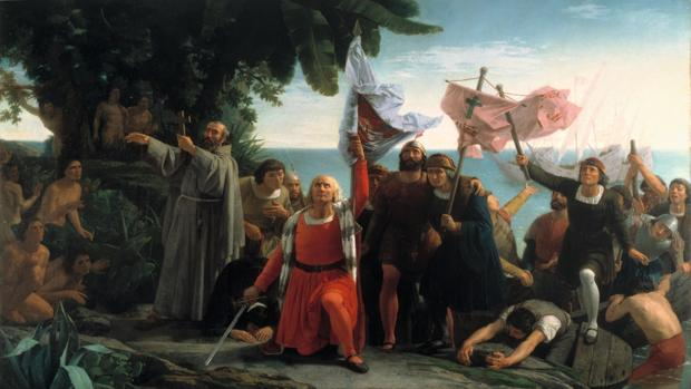 Llegada de Cristóbal Colón a América (Dióscoro Puebla, 1862)