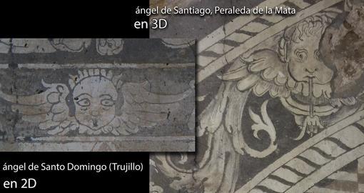 Comparación de un detalle del esgrafiado de Peraleda con uno de Trujillo