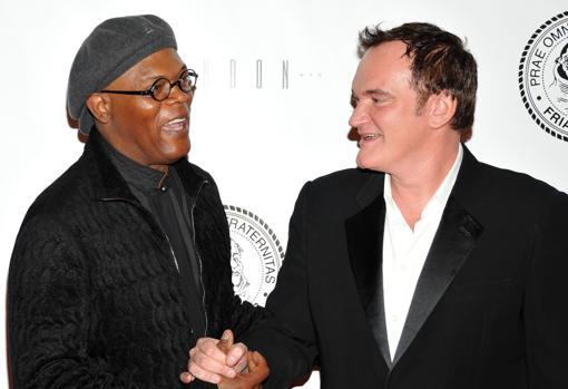 Tarantino, con Samuel L. Jackson en Nueva York, en 2010