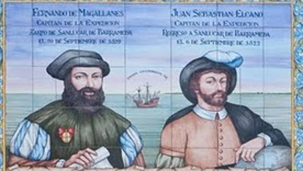 Azulejo conmemorativo de la expedición Magallanes-Elcano, en Sanlúcar de Barrameda (Cádiz).