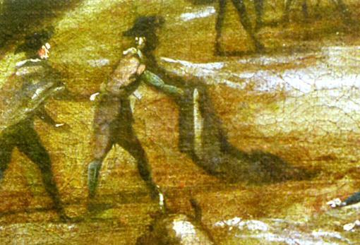 """Detalle de """"Vista del Real Alcázar y entorno del Puente de Segovia"""". lienzo, h. 1670, Museo Slim-Soumaya (México), en el que se ve el aprendizaje de un torero"""