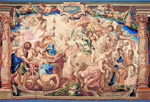 Uno de los tapices de «El triunfo de la Eucaristía», de Rubens. Monasterio de Las Descalzas Reales, Madrid