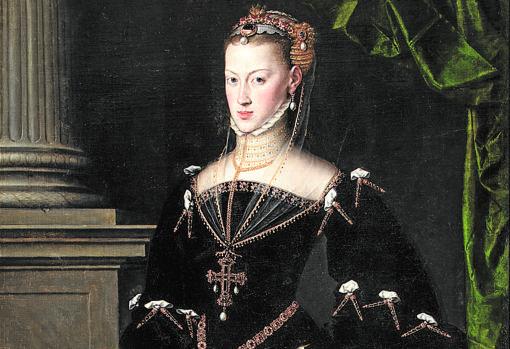 «Retrato de la emperatriz María de Austria», de Antonio Moro. Detalle
