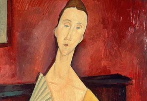 Detalle de «La femme à l'éventail», de Modigliani