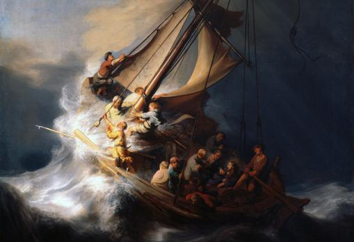 Detalle de «La tormenta del mar de Galilea», de Rembrandt